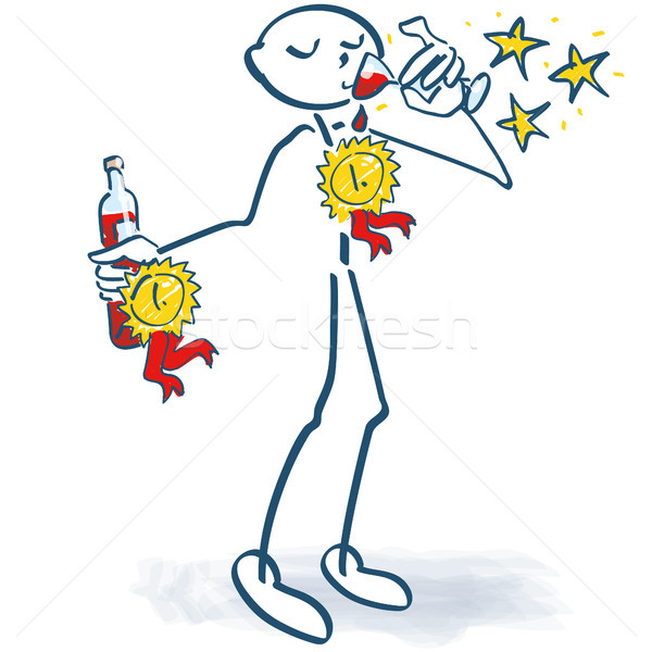 Stick figures cost a winning wine Stock photo © Ustofre9