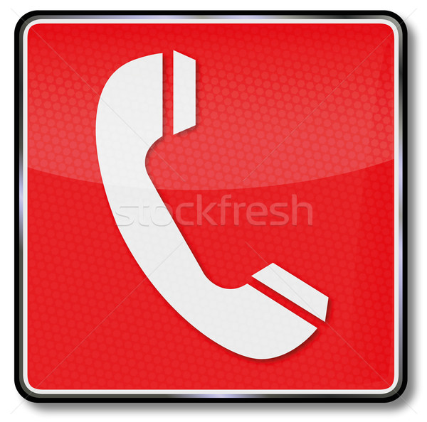 Fire safety sign telephone, emergency telephone and call for help Stock photo © Ustofre9