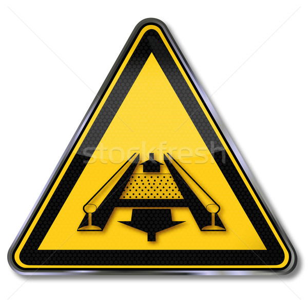 Warning signs danger from a conveyor system in the track Stock photo © Ustofre9