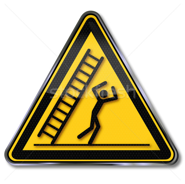 Segno di pericolo cautela cadere scala segni equilibrio Foto d'archivio © Ustofre9