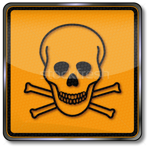 Danger sign warning poison, toxic and skull Stock photo © Ustofre9