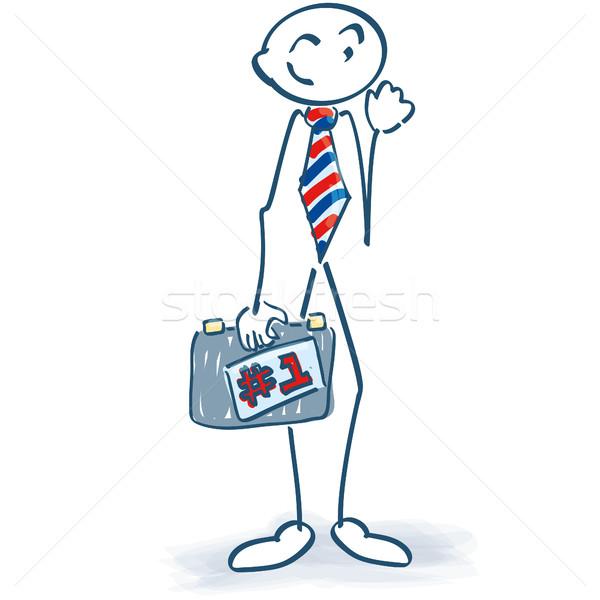 Pálcikaember üzletember bőrönd legelső üzlet szolgáltatás Stock fotó © Ustofre9