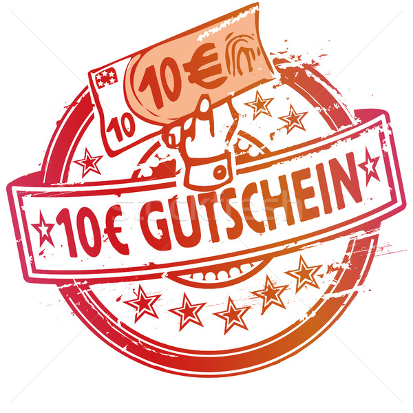 Rubber stamp with voucher over 10 euros Stock photo © Ustofre9