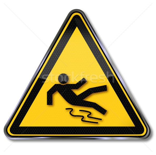 Warning sign caution slippery ground Stock photo © Ustofre9