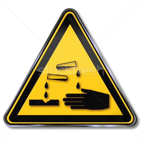 Stock photo: Warning sign caution corrosive substances and chemicals