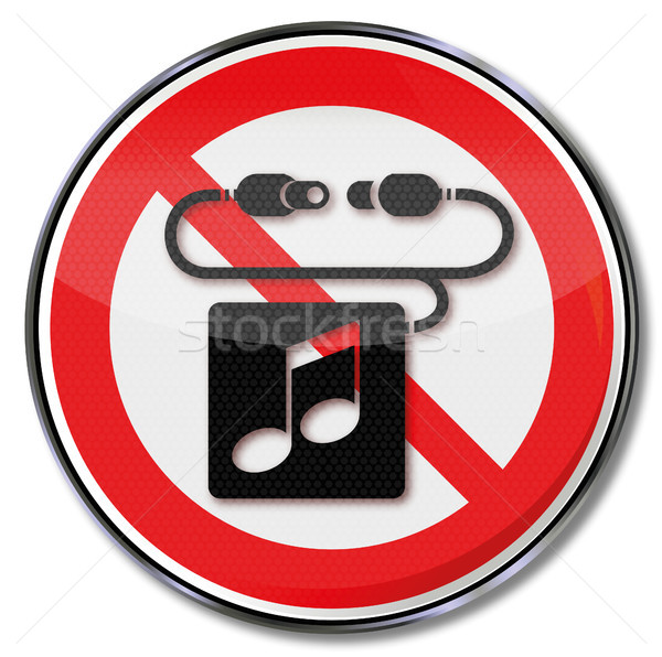 Prohibition sign please no headphones and music Stock photo © Ustofre9