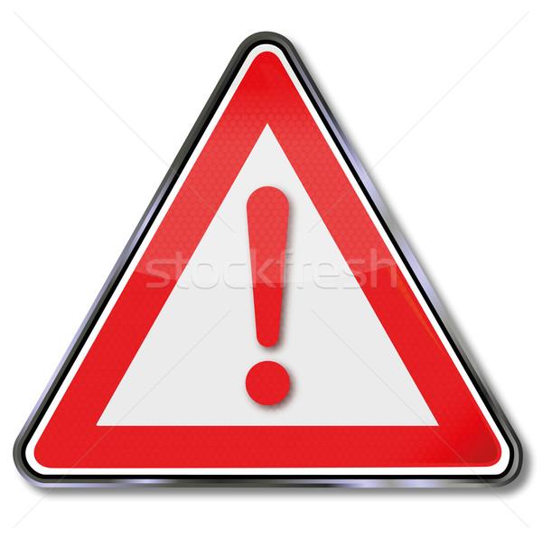 Schild Rood uitroepteken brand gezondheid teken Stockfoto © Ustofre9