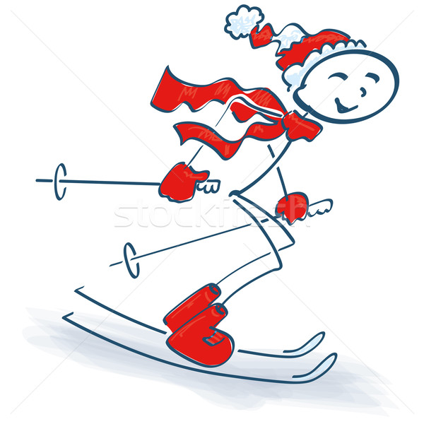 Stick figure and skiing Stock photo © Ustofre9