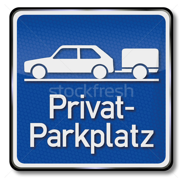 Blue shield private parking for cars with trailers Stock photo © Ustofre9