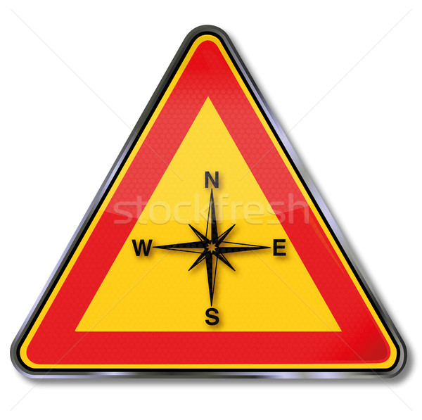 Stock photo: Shield compass, compass rose and orientation