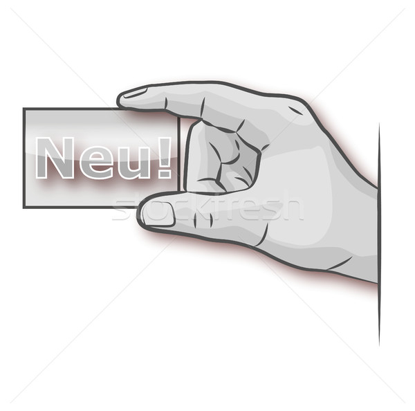 Hand with business card and the new logo Stock photo © Ustofre9