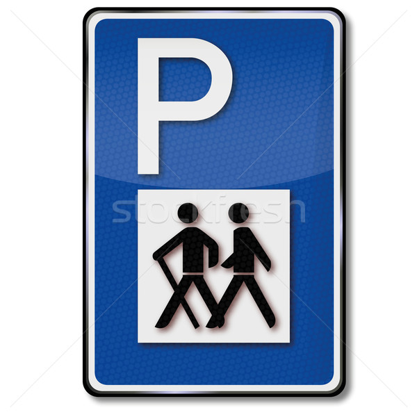 Traffic sign parking for hikers, hiking and biking trail Stock photo © Ustofre9