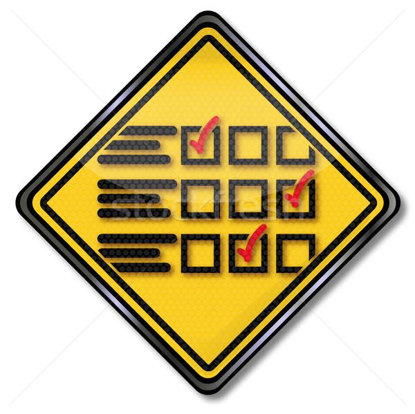 Signe questionnaire éducation boîte signes marketing Photo stock © Ustofre9