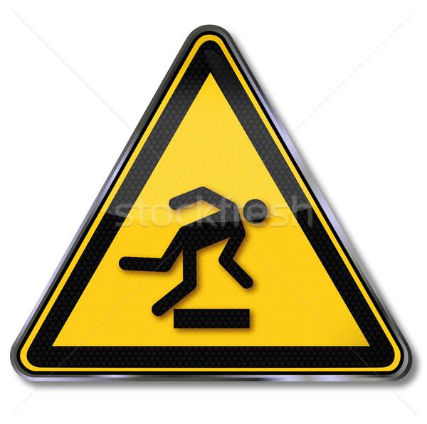 Danger sign warning of danger of stumbling Stock photo © Ustofre9