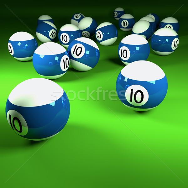 Kék fehér biliárd golyók szám tíz Stock fotó © Ustofre9