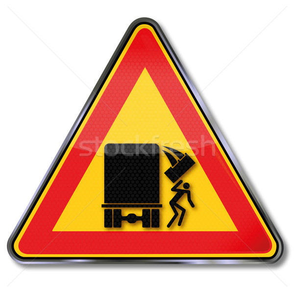 Warning sign caution falling objects from the truck  Stock photo © Ustofre9
