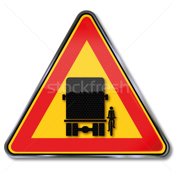 Stock photo: Traffic sign warning blind spot and the overlooking of bikers