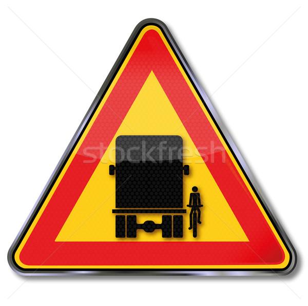 Verkeersbord waarschuwing blinde plek weg Stockfoto © Ustofre9