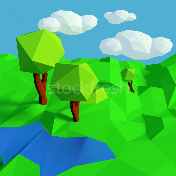 Small low poly landscape with simple pattern  Stock photo © Ustofre9
