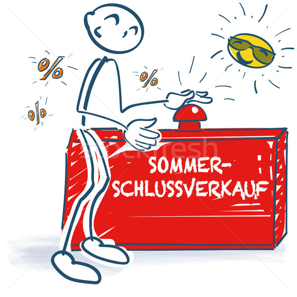 Stick figure with a red button and summer sale Stock photo © Ustofre9