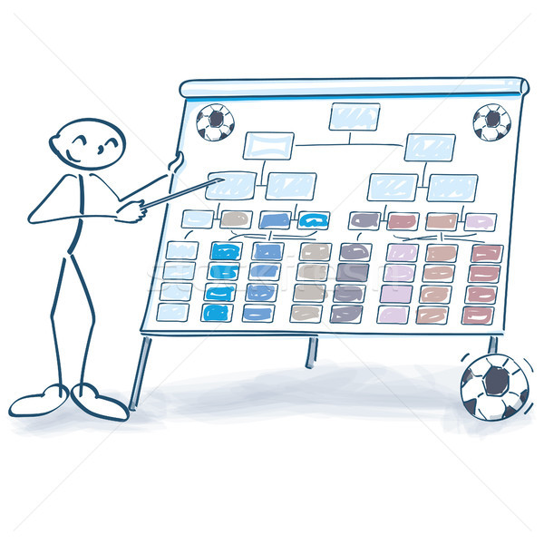 Stick figure explains a soccer table Stock photo © Ustofre9