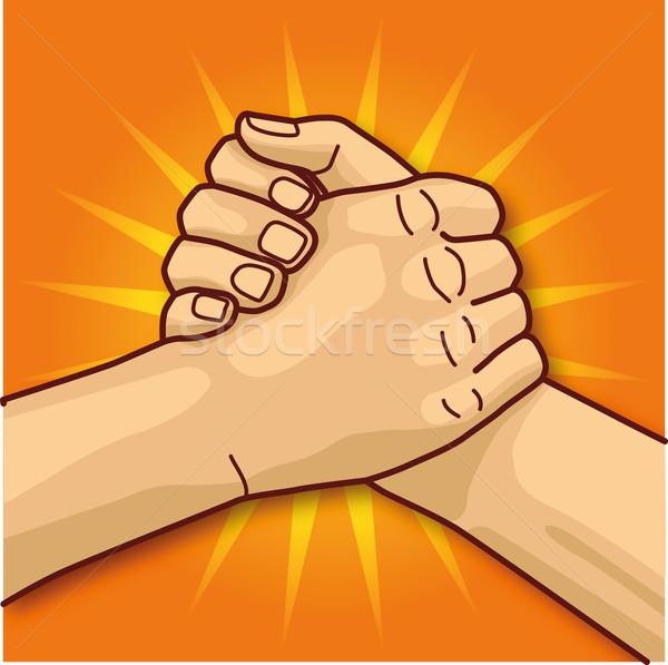Arm worstelen huid welkom vinger verkoop hallo Stockfoto © Ustofre9