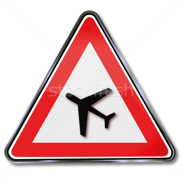 Traffic sign aircraft and aircraft noise Stock photo © Ustofre9