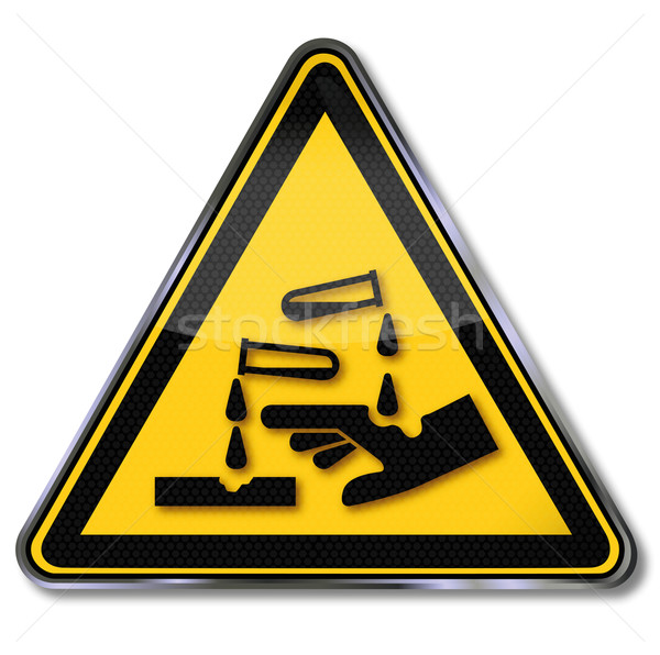 Warning sign corrosive substances Stock photo © Ustofre9