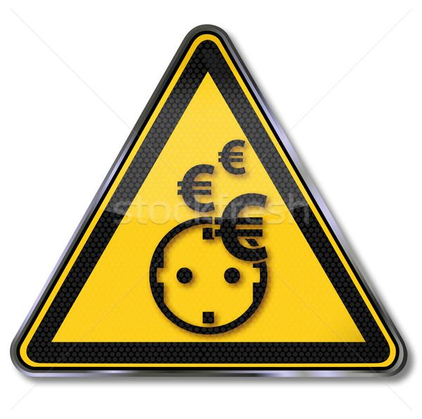 Gelb Zeichen Euro Strom Macht Speichern Stock foto © Ustofre9
