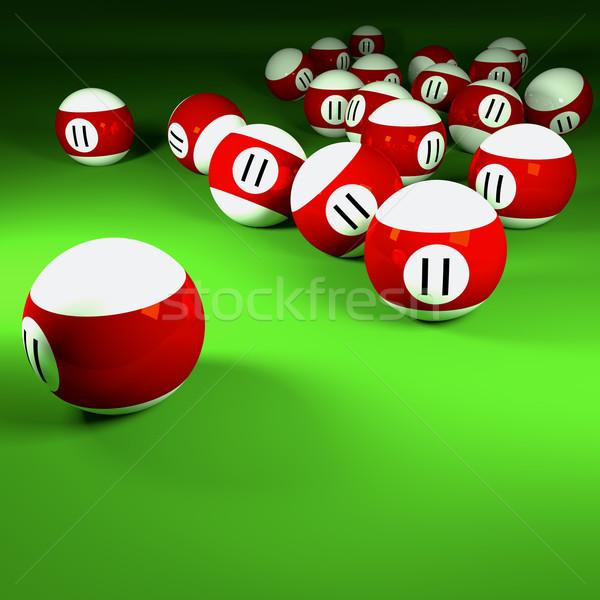 Piros fehér biliárd golyók szám tizenegy Stock fotó © Ustofre9