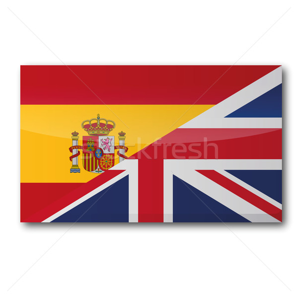 Flag with a translation in English and Spanish Stock photo © Ustofre9