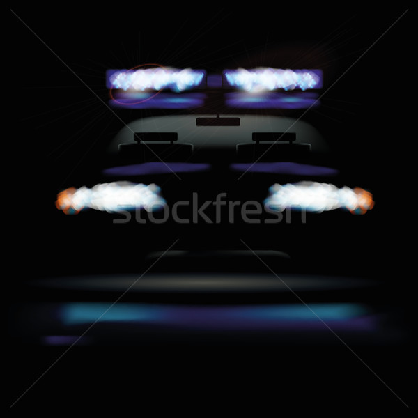 Police car at night and warning light Stock photo © Ustofre9