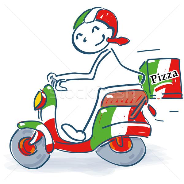 Pálcikaember olasz moped pizza utazás sebesség Stock fotó © Ustofre9