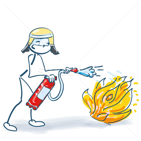 Stick figure as firefighter with fire extinguisher during fire extinguishing Stock photo © Ustofre9