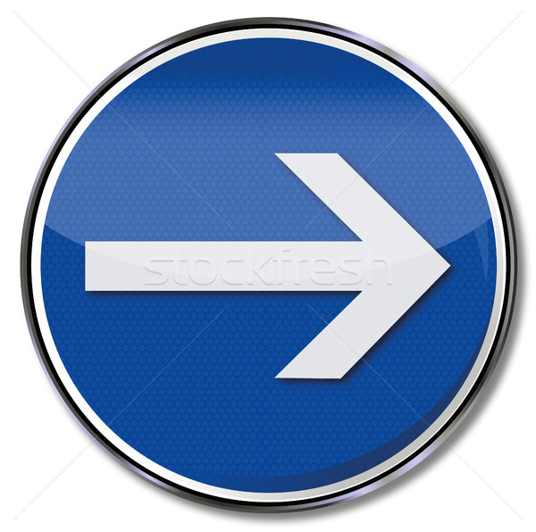 Signo tráfico flecha senalando azul tráfico Foto stock © Ustofre9