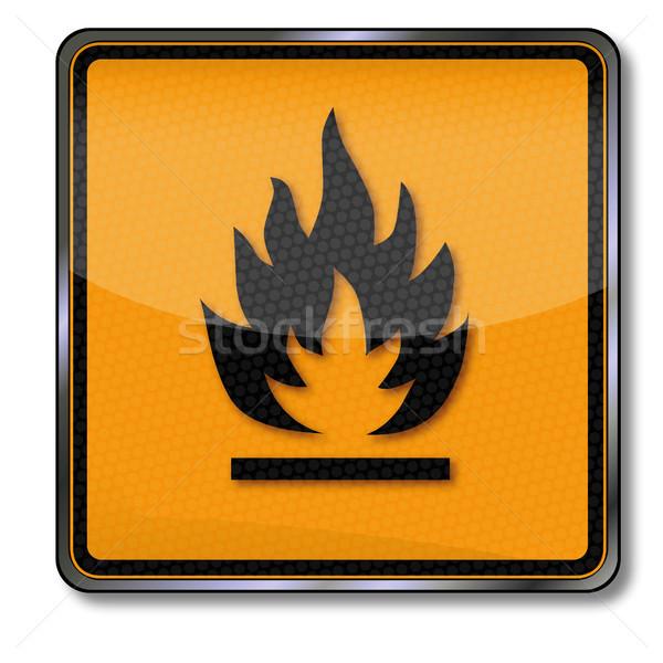 Veszély tábla figyelmeztetés gyúlékony tűz narancs felirat Stock fotó © Ustofre9