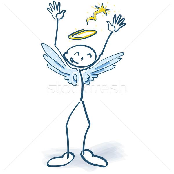 Pálcikaember kicsi angyal jókedv mosoly buli Stock fotó © Ustofre9