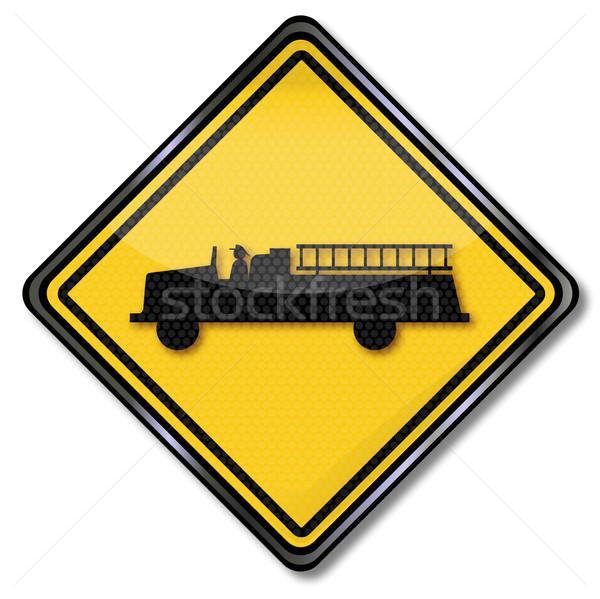 Sinaleiro bombeiros fogo estrada caminhão Foto stock © Ustofre9