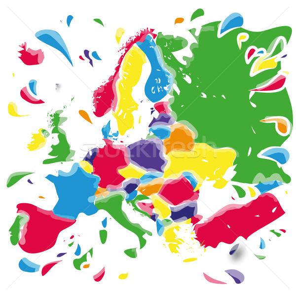 Europa kaart achtergrond groene schilderij Stockfoto © Ustofre9