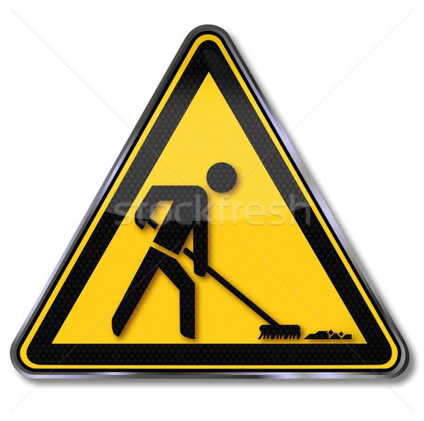 Teken schoonmaken macht huishoudster baan borden Stockfoto © Ustofre9