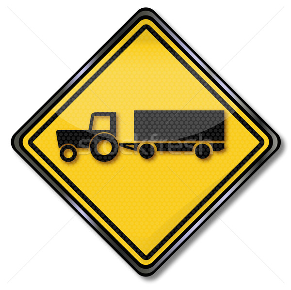 Sign with tractor with trailer Stock photo © Ustofre9