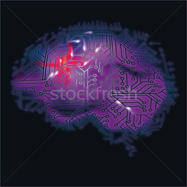 Stock photo: Brain, computer and brain bleeding