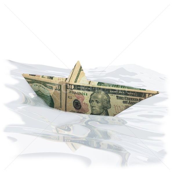 Paper boat made off a 10 dollar bill Stock photo © Ustofre9