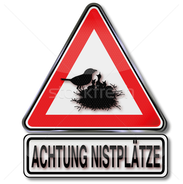 Warning sign caution nesting and young birds Stock photo © Ustofre9