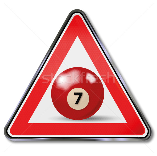 Shield red pool billiard ball number 7 Stock photo © Ustofre9