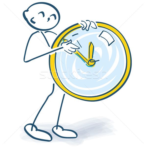 Stick figure turns a clock Stock photo © Ustofre9