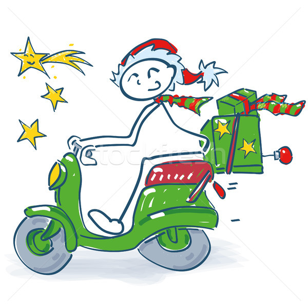 Stick figure on a scooter at Christmas Stock photo © Ustofre9