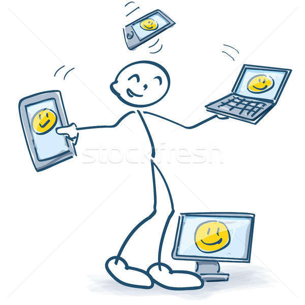 Stick figures with social media and computers with different screen sizes Stock photo © Ustofre9