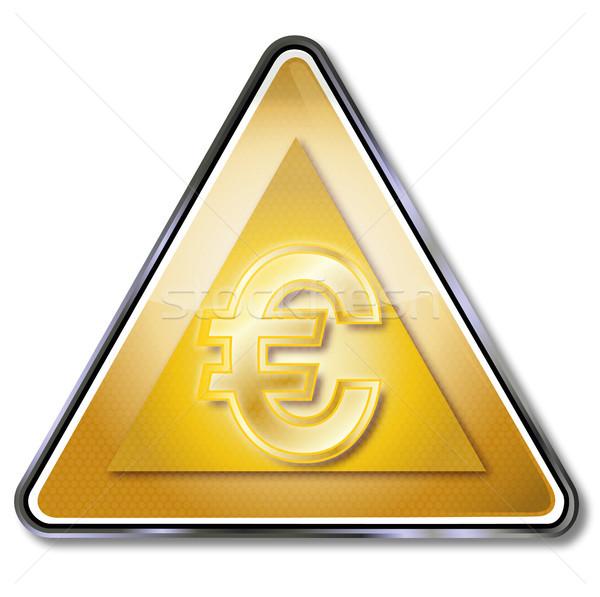 Gouden euro teken geld straat metaal Stockfoto © Ustofre9