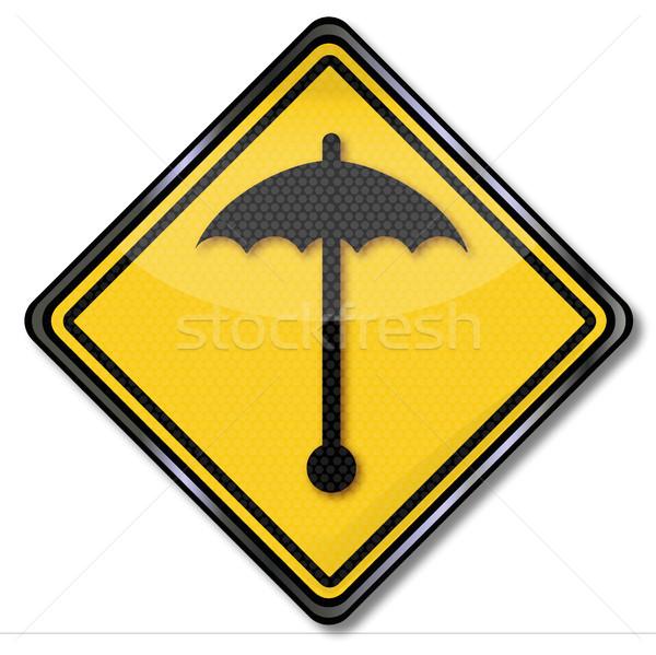 Teken slechte weer paraplu scherm najaar borden Stockfoto © Ustofre9